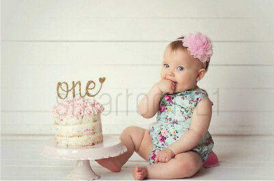 Glitter Gold Silver One Cake Topper First 1st Birthday Girl Boy Photo Prop