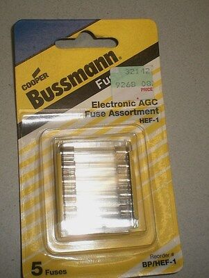 Bussman AGC 5 Fuse Set - 1 2 & 3 AMP. NEVER OPENED! BP/HEF-1 HEF-1