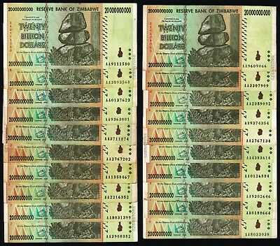 20 x 20 Billion Zimbabwe Dollars Banknotes AA AB 2008 Currency 20PCS Paper Money