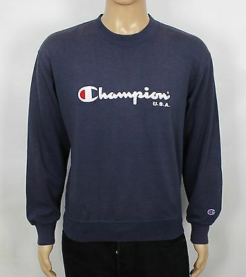 Vintage Champion Blue Sweatshirt Sweater Jumper Classic Rare Size S (Sw93 )