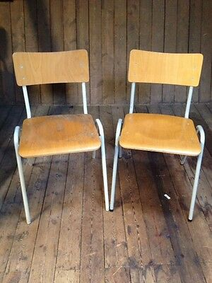 Vintage *ESAVIAN* 2 x Adult Size Industrial Bentwood Stacking Chairs Tubular