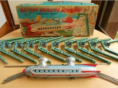 Vintage Tin Toy 1950's LINEMAR Rocket Ship Monorail with box JAPAN