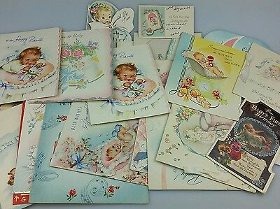Vintage - Used Greeting Cards - Lot Of 30 - Baby Cards - Good For Decoupage