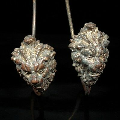 Pair of Antique French Gilded Bronze Tiebacks, Lion's Head, Lion's Feet