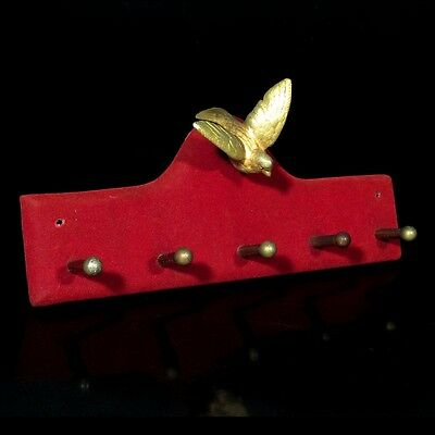 Vintage French Jewelry Key Towel Rack Gilded Bird and Red Velvet, 5 hooks