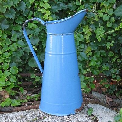 Vintage French Enamelware Blue Body Pitcher