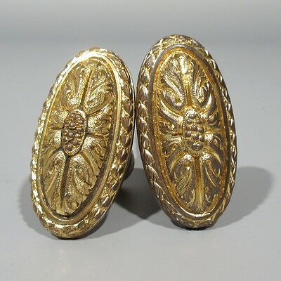 Antique French Gilded Bronze Door Knobs, Stamped, Numbered, Grapes Acanthus Leaf