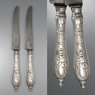 Two Antique European French Silver Clad Dinner Knives, Aeolus Angel Putto Cherub