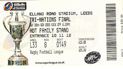 Ticket - Australia v New Zealand 26.11.2005 Tri-Nations Final @ Elland Rd Leeds