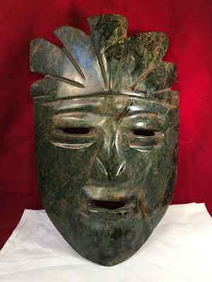 Old  Dark  Green  Pre Colombian  Stone  Mask