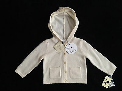 Max Studio Ivory 100% Cashmere Hooded Cardigan Sweater Baby Girl 3-6 Months *NEW
