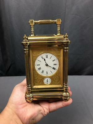 AntQ 1860's Henri Jacot French Heavy Grand Sonnerie Brass Glass Carriage Clock