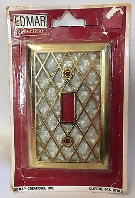 Edmar Creations Single Switch Cover Brass Diamond Pearl Pattern Unused NO SCREWS