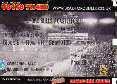 Ticket - Bradford Bulls v Castleford 04.06.2012