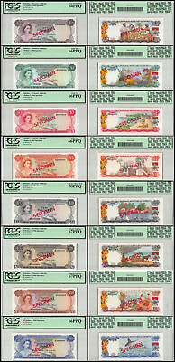 Bahamas 1/2-100 Dollars 8 Pieces (PCS) Full Specimen Set, 1968, P-26-33, PCGS