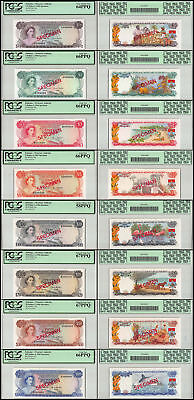 Bahamas 1/2-100 Dollars 8 Pieces - PCS, Full Specimen Set, 1968, P-26-33, PCGS