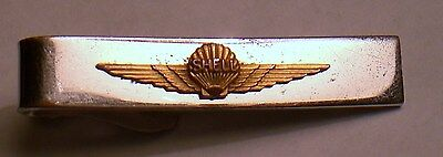 Vtg. SHELL AEROSHELL aviation Gas/Oil employee service award Tie clip/clasp/bar