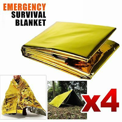 4x Space Blankets Thermal Thermo Emergency Survival Camping Rescue First Aid NEW