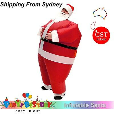New 1X Inflatable Santa Costume Battery Operated Christmas Xmas Fancy Dress Suit
