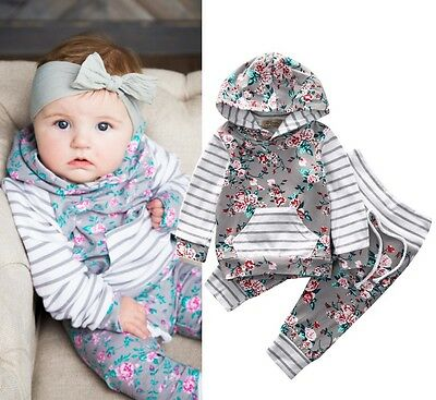 Newborn Baby Girls Clothes Infant Floral Hooded Tops Long Pants 2Pcs Outfits Set