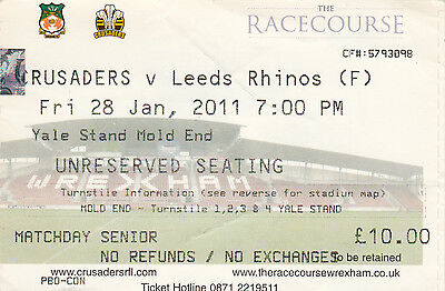 Ticket - Crusaders v Leeds Rhinos 28.01.2011