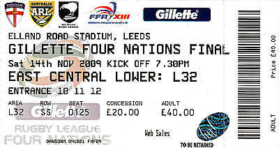 Ticket - England v Australia 14.11.2009 Four Nations Final @ Elland Road