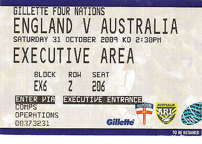 Ticket - England v Australia 31.10.2009 Four Nations @ Wigan