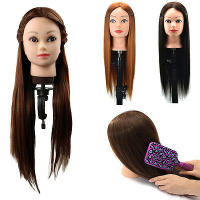 """100% Real Human Hair Practice Head 24"""" Hairdressing Training Mannequin +Clamp"""