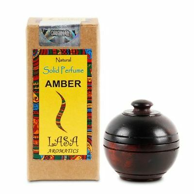 Lasa Natural Solid Perfume AMBER Fragrance in Wooden Jar, Made in India 6gm