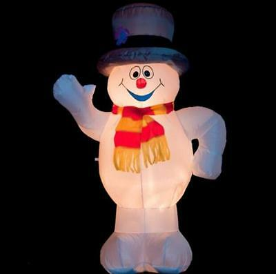 New 2.4m AirPower SNOWMAN Outdoor Inflatable Christmas w Lights Fan powered