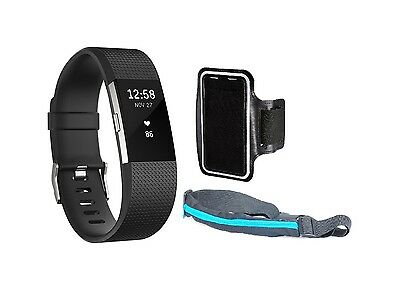 Fitbit Charge 2 HR Fitness Wristband Large Black Silver + Sport Belt+ Armband