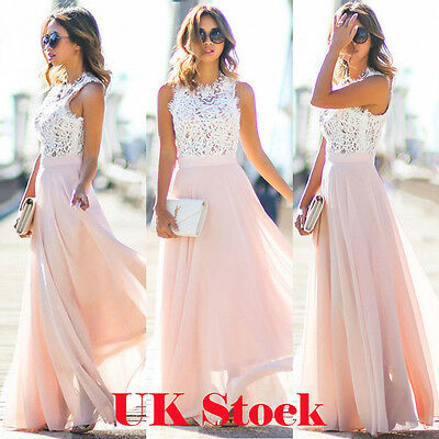 UK Womens Long Lace Chiffon Evening Formal Party Ball Gown Prom Brides Dress New