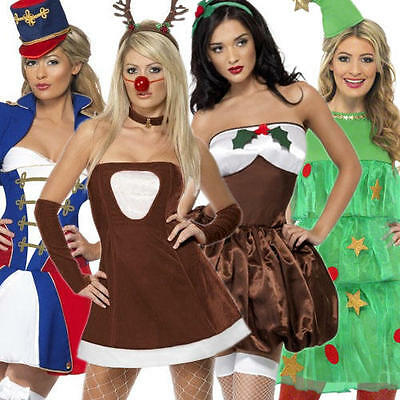 Sexy Ladies Christmas Fancy Dress Festive Xmas Holiday Womens Costume Outfit New