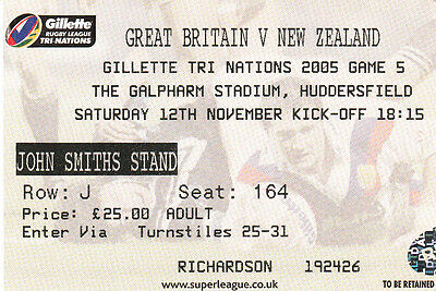 Ticket - Great Britain v New Zealand 12.11.2005 Tri-Nations @ Huddersfield