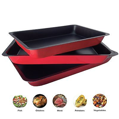 ASAB 3 Pc Non Stick Baking Roasting Cooking Tray Set Oven Dish Bakeware Bake Pan