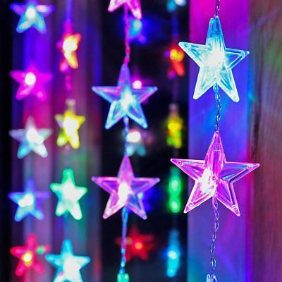 1M x 1M INDOOR HOME MAINS PLUG IN CHRISTMAS STAR FAIRY STRING CURTAIN LED LIGHTS