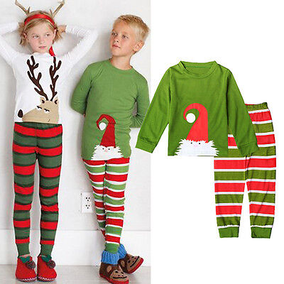 Infant Baby Kids Boys Girls Clothes Nightwear Pyjamas Pajamas Set Sleepwear XMAS