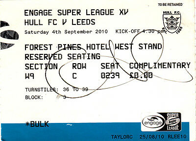 Ticket - Hull FC v Leeds 04.09.2010