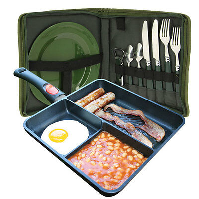 New !!! Ngt Multi Section Frying Pan Cutlery Plate Set  Camping Set Non Stick