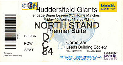 Ticket - Leeds Rhinos v Huddersfield Giants 15.04.2011