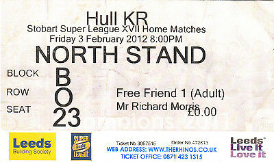 Ticket - Leeds Rhinos v Hull Kingston Rovers 03.02.2012