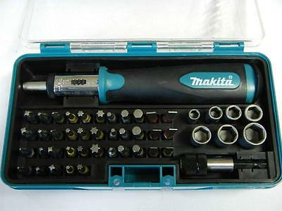 """MAKITA 47 Pc RATCHET SCREWDRIVER and Bit Set B-28612 1/4"""" in Carry Case b36170"""