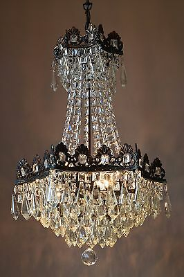 1950'S Antique Fixture French Vintage Crystal Chandelier Lamp Old Home Lighting