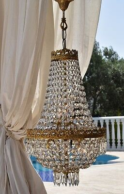 Brass Antique 1950's French Crystal Chandelier Old Home Lighting Vintage Lamp