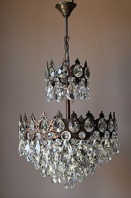 HOME & LIVING Antique French Vintage Crystal Chandelier Lamp Old Home Lighting