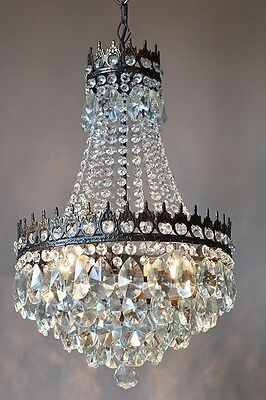 Opulent waterfall Antique French Vintage Lead Crystal Chandelier Lamp Lighting