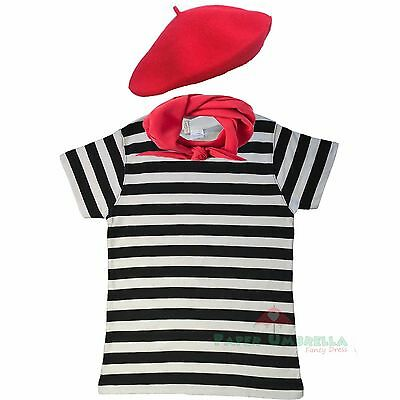 Ladies French Black White striped Tshirt 3 pc set Fancy Dress Costume Hen outfit