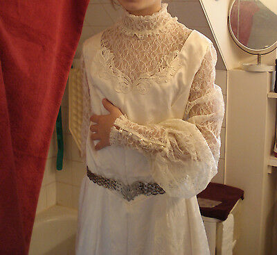 vtg. flowing satin n lace wedding gown, 1880s style + headpiece. Can. 10 / US 8