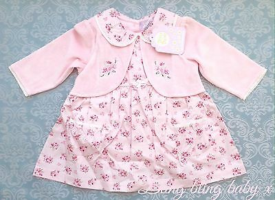 Baby Girls Pink Floral Traditional Dress , Integrated Bolero,  0-3 Months