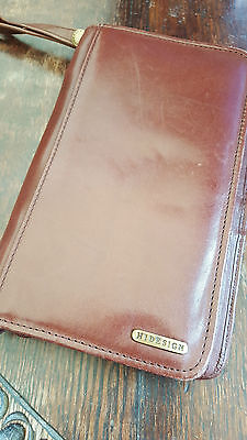 Hidesign Travel Organiser Document Wallet 100% Tan Leather Excellent Condition